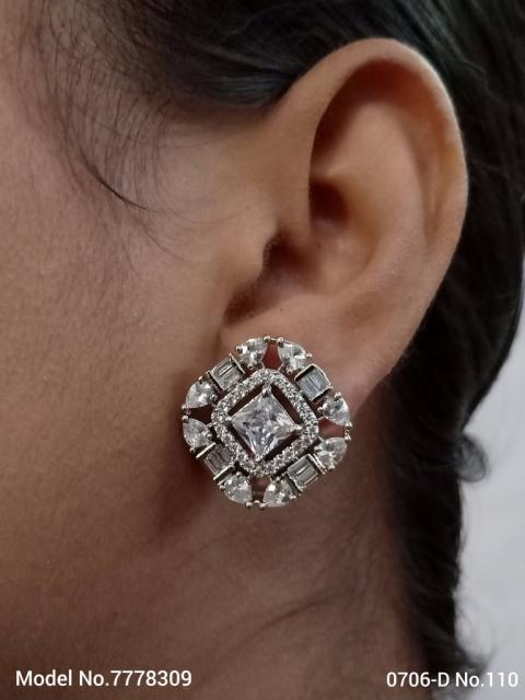 Cubic Zirconia Stud Earrings | American Diamond